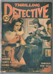 Thrilling Detective 6/1942-gun moll cover-mystery-pulp thrills-VG