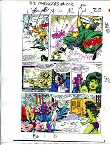 Avengers #222 1982 Hand Painted  Colorguide Page 22-She-Hulk-Thor-VG