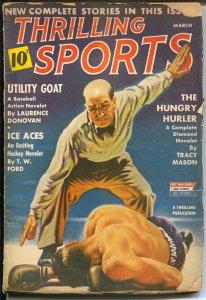 Thrilling Sports 3/1943-Earle Bergey boxing cover-hockey-baseball-WWII era-FR/G