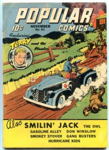 Popular Comics #81 1942- WWII anti-jap Terry & pirates cover- Owl- Cyclone VG/F