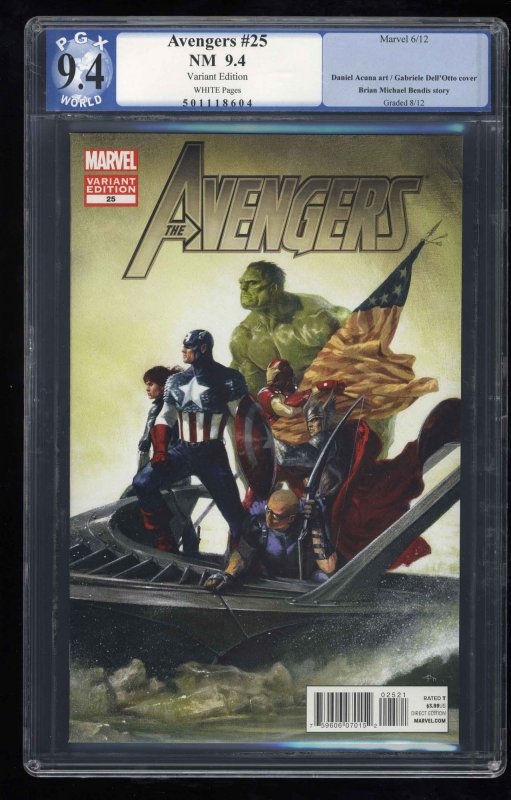 Avengers (2010) #25 PGX NM 9.4 White Pages Variant Edition!
