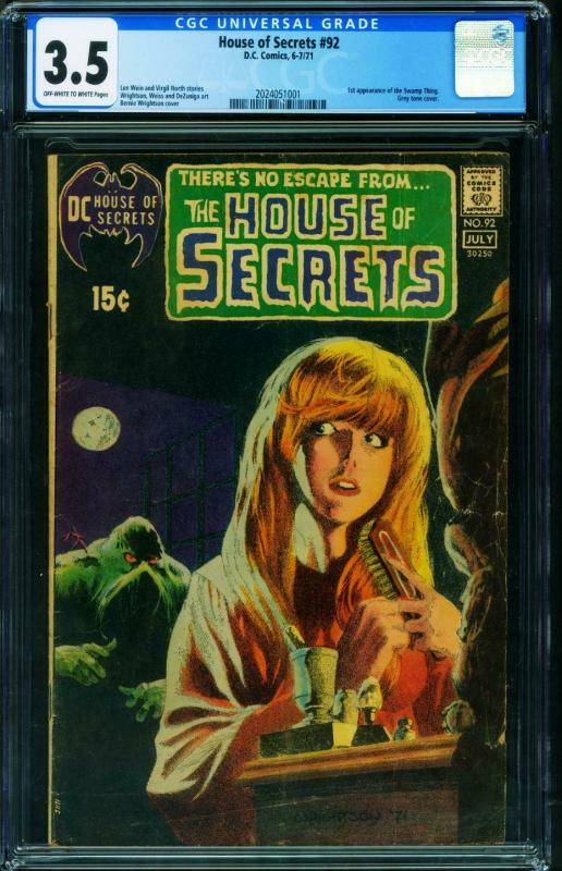 HOUSE OF SECRETS #92 CGC 3.5 1st SWAMP THING-BERNI WRIGHTSON 2024051001