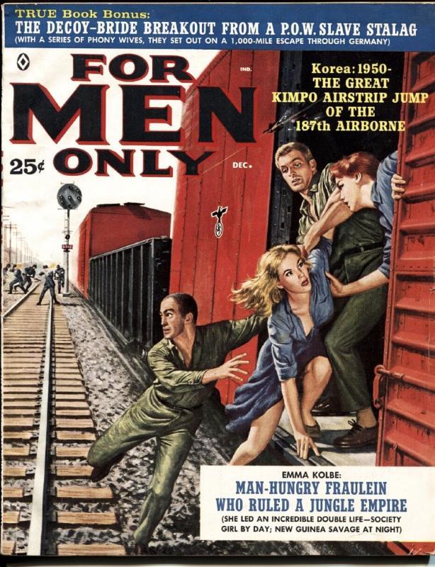 FOR MEN ONLY-DEC 1960-SPICY GIRLS ESCAPE NAZIS-KUNSTLER vg/fn