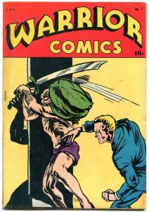 Warrior Comics #1 1945- Iron Man- Wings Brady Golden Age comic VG/F