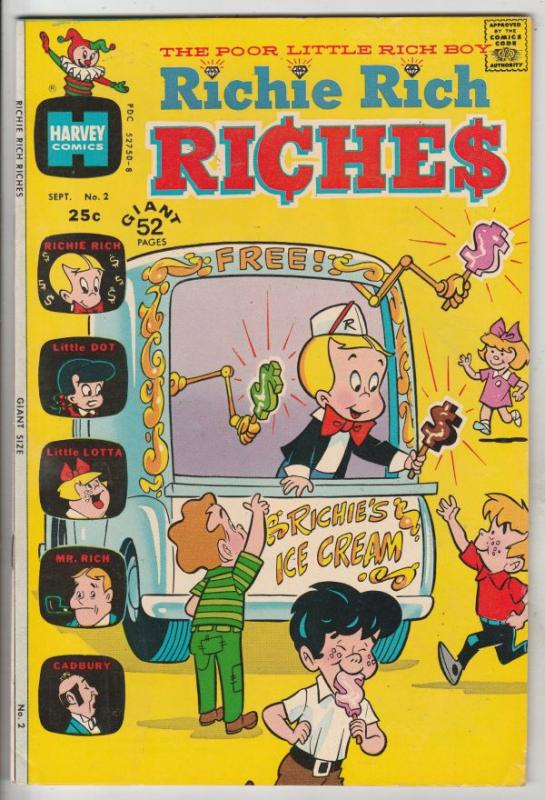 Richie Rich Riches #2 (Sep-72) VF/NM High-Grade Richie Rich