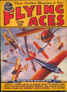 Flying Ace 6/1937-pulp-Buzz Benson-Philip Strangen-August Schomburg-VG/FN