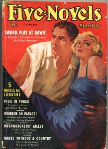 FIVE NOVELS MONTHLY-JAN 1938-ADVENTURE-PULP-SPICY GOOD GIRL ART-RARE