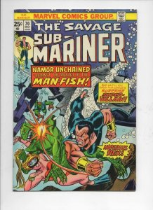 SUB-MARINER #70, VF, Tuska, Imperius Rex, Man-Fish, Marvel, 1968 1974