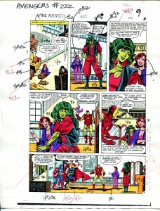 Avengers #222 1982 Hand Painted  Colorguide Page 7-She-Hulk,Thor, Ironman-VG