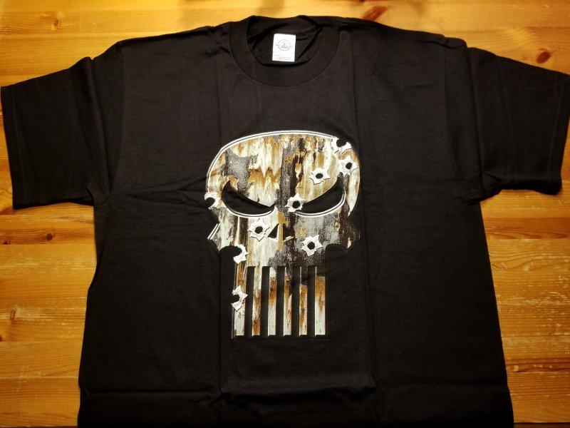 Punisher Metalic Skull w/ Bullet Holes T-Shirt L NOS  Marvel
