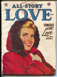 All Story Love 3/1950-pin-up girl cover-female pulp fiction authors-VG+