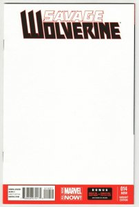 Savage Wolverine #14 Blank Sketch Variant Cvr (Marvel, 2014) NM