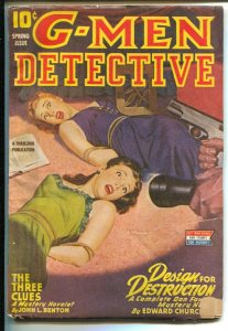 G-Men Detective Spring 1945-hero Pulp-Dan Fowler-F.B.I.-Bound women cover-VG-