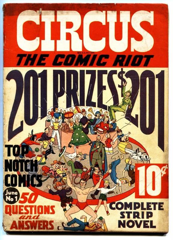 CIRCUS THE COMIC RIOT #1-1938-EXTREMELY RARE-BASIL WOLVERTON-BOB KANE