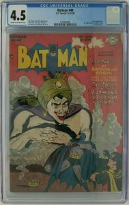 Batman #49 ~ 1948 DC ~  CGC 4.5 (VG+); 1st App. of Vicki Vale & Mad-Hatter