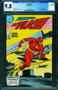 The Flash #1 CGC 9.8 1987 1st Wally West title  DC 2043261013