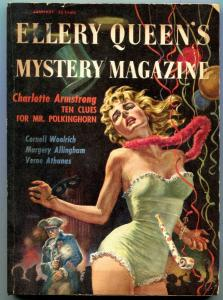 Ellery Queen's Mystery Magazine January 1957- Spicy cover- Cornell Woolrich VG