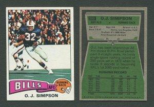 1975 Topps Football /  OJ Simpson #500 /  EX