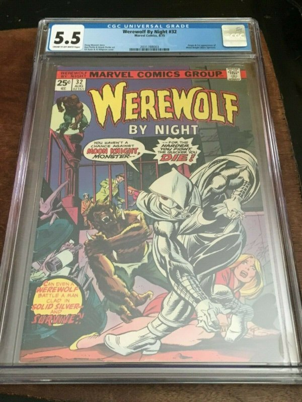 WEREWOLF BY NIGHT #32 - CGC 5.5 (FN-) 1ST APP MOON KNIGHT - BRONZE AGE KEY