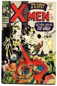 X-MEN #23 1966-comic book MARVEL COMICS-NEFARIA -- BATTLE COVER fn-