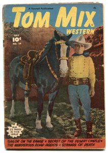 Tom Mix Western #19 1949-photo cover- Golden Age Fawcett VG-