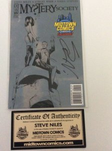 MYSTERY SOCIETY #1 MIDTOWN COMICS NYC variant, Signed by STEVE NILES W/COA.