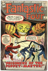 FANTASTIC FOUR #8, VF-, 1st Pupper Master, Jack Kirby, 1961 1962, more in store