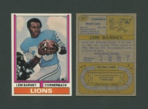 1974 Topps Football / Lem Barney #525  /  NM-MT