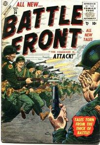 BATTLEFRONT #34-1955--COMMIES-WWI & WWII STORIES--JOE MANEELY COVER ART-ATLAS