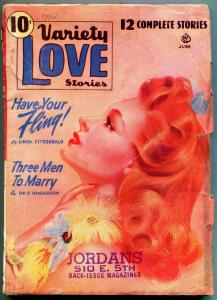 Variety Love Stories Pulp June 1941- Linda Fitzgerald- Dale Henderson VG
