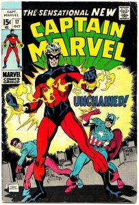 CAPTAIN MARVEL #17 (Oct1969) 6.0 FN  1st 'New' Capt. Marvel! R Thomas! G. Kane!