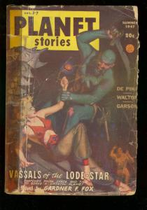PLANET STORIES PULP-SUM 1947-GOOD GIRL ART COVER-SCI FI FR