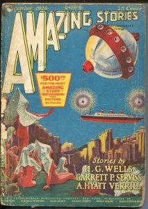Amazing Stories #9 12/1926-Frank R. Paul sci-fi cover-HG Wells-early pulp-P/FR