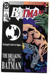 Batman #497 comic book 1993 -  Bane Breaking of Batman