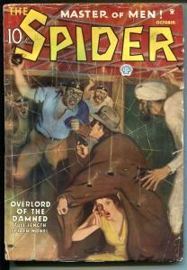 SPIDER-10/1935-HERO PULP-WEIRD MENACE-JOHN HOWITT-OVERLORD OF THE DAMNED-vg+