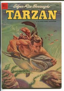 TARZAN #56 -1954-DELL-BURROUGHS-JESSE MARSH-RUSS MANNING-SHARK COVER-fn