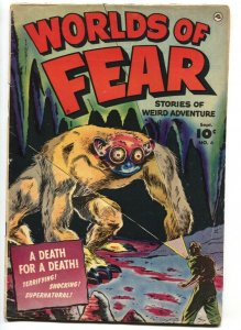 WORLDS OF FEAR #6 1952-VIOLENT-PRE-CODE HORROR-SPIDERS-MONSTERS-HANGING