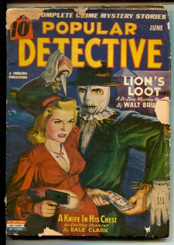 Popular Detective 6/1943-Thrilling-Scarecrow menace and Gun Moll cover-headli...