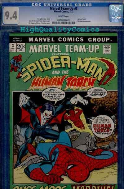 MARVEL TEAM-UP #3, 3rd Morbius, CGC= 9.4, NM, Spider-man, Gil Kane