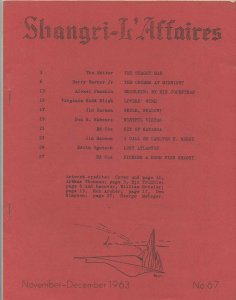 SHANGRI-L'AFFAIRES #67 (LASFS Fanzine, 1963) Rare Zine! Kaiser collection!