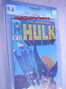 INCREDIBLE HULK #340, vs Wolverine, CGC = 9.6, 1988, NM+, Todd McFarlane