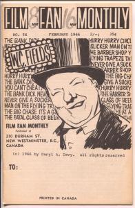 Film Fan Monthly #56 2/1966-WC Fields-Leonard Maltin-VG