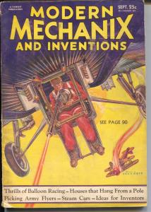 Modern Mechanix and Inventions 9/1932-Norman Saunders cover-pulp art-VG
