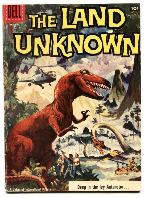 LAND UNKNOWN #845 1957-DELL-FOUR COLOR MOVIE ED-DINOSAURS-ALEX TOTH-vg