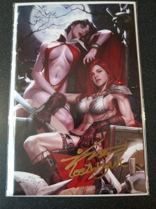 VAMPIRELLA RED SONJA #1 SIGNED INHYUK LEE VIRGIN VARIANT W/COA