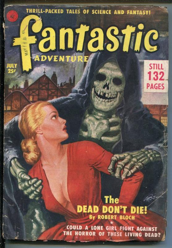 Fantastic Adventures Pulp July 1951- Weird Menace cover- Virgil Finlay- Bloch VG