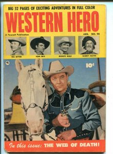 WESTERN HERO #98-1951-FAWCETT-MONTE HALE PHOTO FRONT COVER-TOM MIX-vg/fn