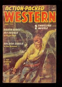 ACTION-PACKED WESTERN PULP JAN 1955-KIT CARSON STORY- VG