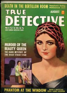 True Detective Mysteries August 1938- Phantom at the Window- Spicy cover FN