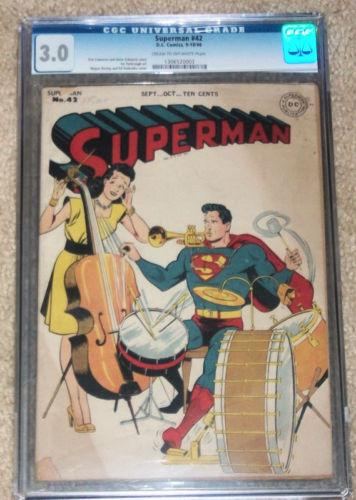 Superman #42 (DC,9/1946) CGC Graded G/VG under guide!
